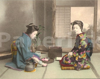 Geishas Tea Time DIGITAL Download Beautiful Japanese Kimonos Illustration Antique Japan Postcard Download
