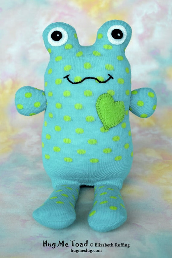 Handmade Sock Toad Frog, Stuffed Animal Sock Doll Art Toy, Hug Me Toad, Personalized Tag, Turquoise, Green, Polka Dots, 10 inch, Ready-made