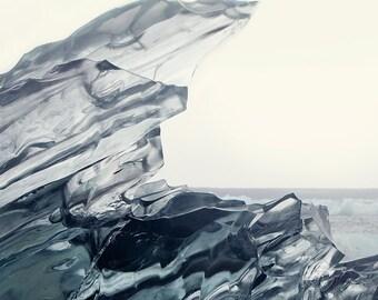 Crystalline - Minimalist Landscape Photography, Jokulsarlon Iceland, Jagged Iceberg, Winter, Cold, Icy Grey Blue, Frozen Lake, 8x8