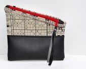 Clutch Fold Over Purse in Crossword Puzzle Linen with Black Vegan Leather