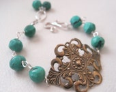 Royal, Sterling Silver, Brass, Turquoise Bracelet