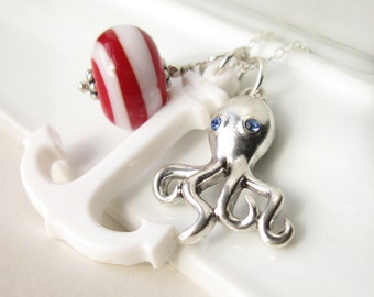 Nautical Inspired necklace Vintage lucite anchor, lampwork octopus charm in sterling silver - Ahoy