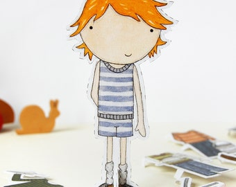 Colin Paper Doll, Boy Dress-up Doll - The Signature Outfits - Postcard Paper Toy