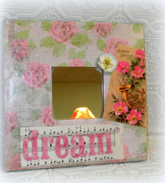 Shabby Cottage Chic Mirror Decoupaged Home Decor - Rose Inspired Decor - Birthday Gift - Romantic Decor, Altered Art