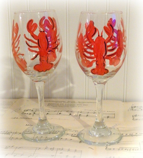 Custom Painted Lobster Wine Glasses - Beach Party Coastal Kitchen Decor - Nautical Gift - Personalized For Free