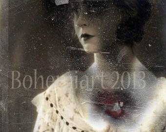 heart murmur broken heart sad surreal vintage print