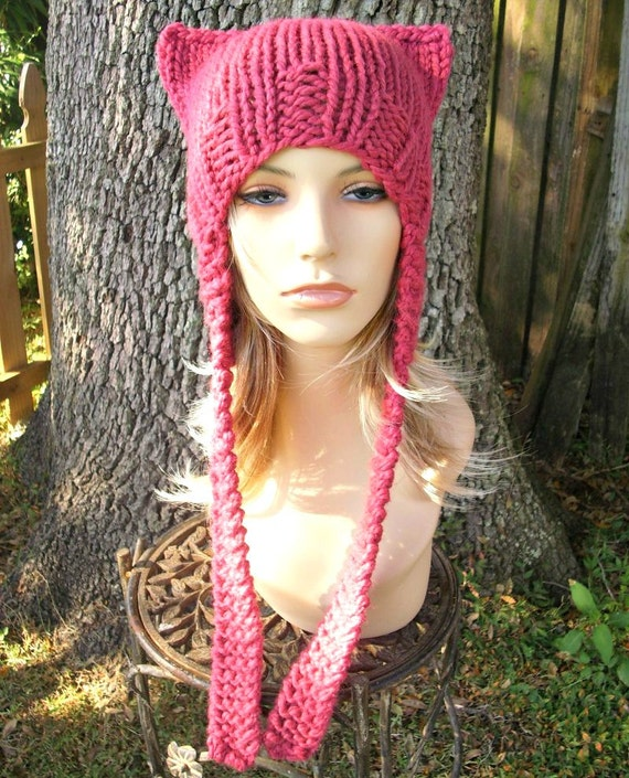 Pink Pussyhat Pink Cat Hat Womens Hat - Pink Ear Flap Cat Hat - Raspberry Pink Ear Hat Pink Hat Pink Beanie Pink Pussy Hat - READY TO SHIP