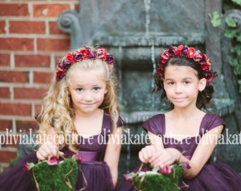 Plum Flower Girl Dress 6 7 8
