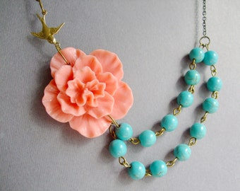 Coral Necklace,Turquoise Necklace,Statement Necklace,Coral Flower Necklace,Flower Necklace,Multi Strand,Bridesmaid Necklace,Wedding Necklace