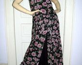 Tissue Hippie Dress Black Pink Floral Drop Waist Sheer Cotton Layer Tea Garden Hippy Revival Sundress 80s Maxi India Cotton Dress Adult M S