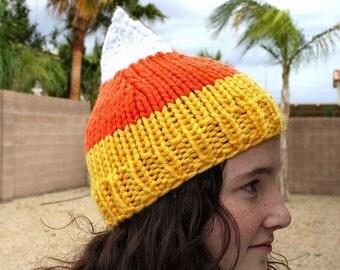 Candy Corn Hat - Knit Candy Corn Hat - Women's Candy Corn Hat - Men's Candy Corn Hat - Knit Halloween Hat - Women's Fall Hat