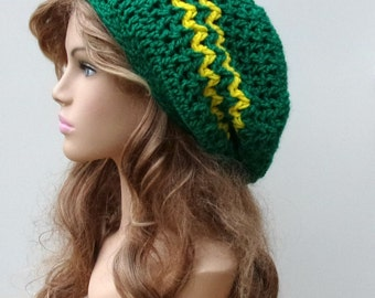 Slouchy hat, Emerald green yellow slouchy beanie Hippie Dread Tam Hat crochet, woman or man slouchy beanie