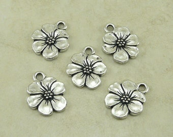 5 TierraCast Apple Blossom Flower Charms > Daisy Pansy Magnolia Posie Spring - Silver Plated LEAD FREE Pewter - I ship Internationally 2372