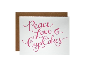 Set of 6 - Peace Love Cupcakes Letterpress Cards