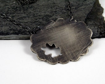 Lacy Distressed Sterling Silver Silhouette Leaf Necklace - Crisp Fall Fashion