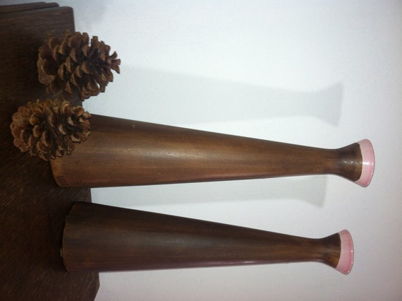 Mid Century 1960s Large 2 Pc MOD Vases Candleholders POTTERY Brown Wood Grain Pink Marked Modern EAMES Decor epsteam