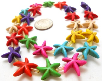 26 Starfish Beads Howlite star beads fish seastar (H479)