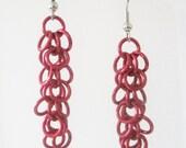 Medium Red Shaggy Loops Chainmaille Earrings Handmade