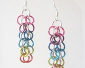 Short Rainbow Shaggy Loops Chainmaille Earrings Handmade