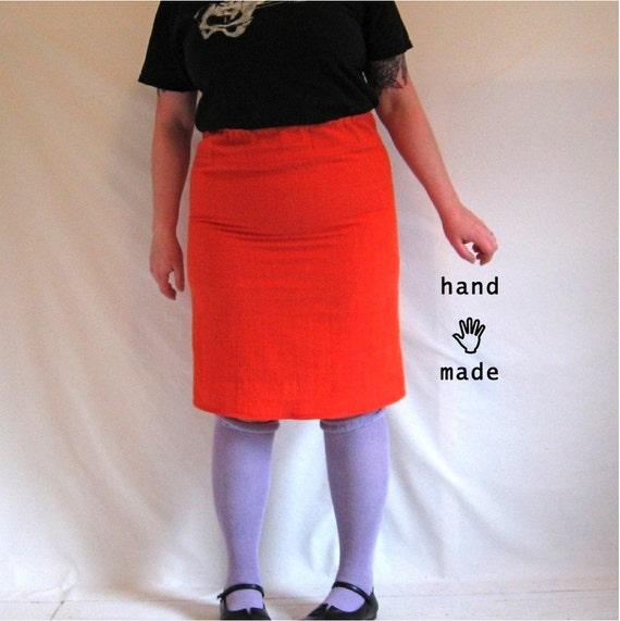 tangerine skirt - XL pencil skirt, bright orange, size 14 / size 16 / size 18, freshly handmade in crinkle cotton vintage fabric -- 36W-45H