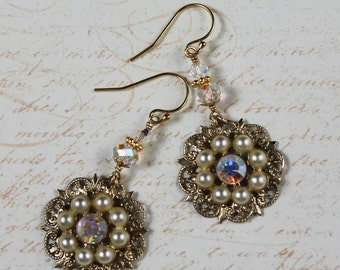 Upcycled Vintage Golden Filigree Pearl and Crystal 14k Gold Fill Earrings
