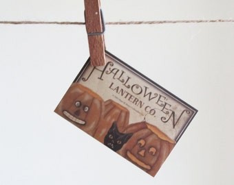 4 Halloween Lantern Co Label Stickers