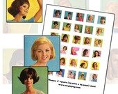 1960s Mod Retro Women 1 inch square digital collage sheet inchies 25.4mm 25 mm 1x1 1""