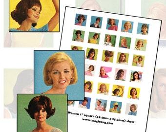 "1960s Mod Retro Women 1 inch square digital collage sheet inchies 25.4mm 25 mm 1x1 1"""