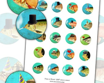 Smoking Fish in Party Hats 1.313 inch circle digital collage sheet