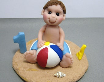 Beach Baby polymer clay  Cake Topper decoration Custom made to Order