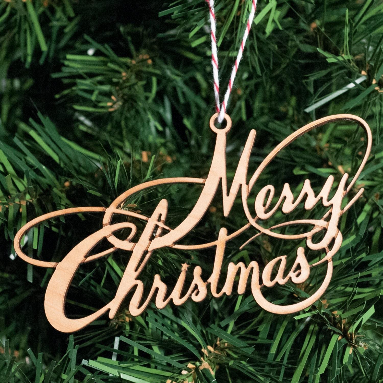 Merry Christmas Ornaments: Ornament Lasercut Merry Christmas