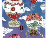 Hot Air Balloons V - Multimedia - Linocut Vintage Hot Air Balloons on Cloudy Sky with Collaged Japanese Papers & Ephemera