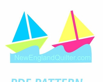 Sailboats on the Ocean Waves Applique PDF Pattern - Quilt Block - Sewing - Crafts - Sailing Anchor - Instant Download