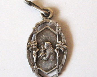 Antique St Anthony Patron of Children Art Nouveau Religious French Medal Pendant Charm