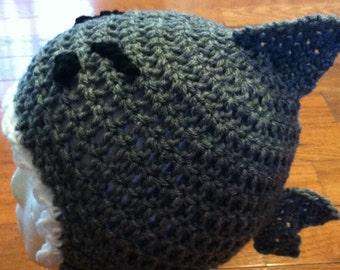 Shark Beanie Shark Hat Shark Skullcap Crochet Shark Beanie-size newborn through adult-photo prop costume idea