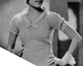 Vintage 1930s Crochet Patterns - Empire Blouse - BONUS Hat, Cuffs - PDF e-Book