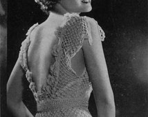 Columbia Peggy Tucker Evening Gown - Vintage 1930s Crochet Pattern - PDF eBook