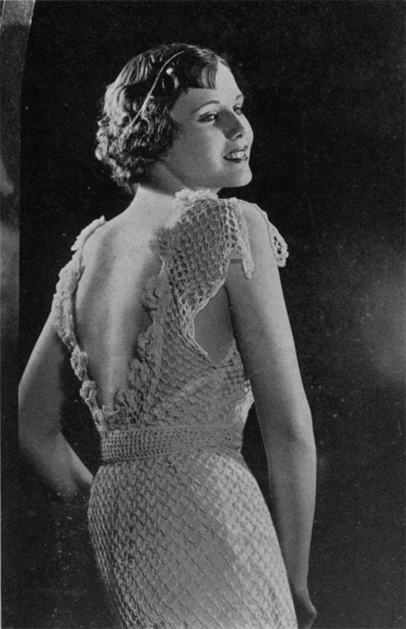 Columbia Peggy Tucker Evening Gown - Vintage 1930s Crochet Pattern - PDF eBook