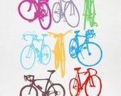 Bike Art - Bicycle Color Chart Screenprint - Urban Cycling Print