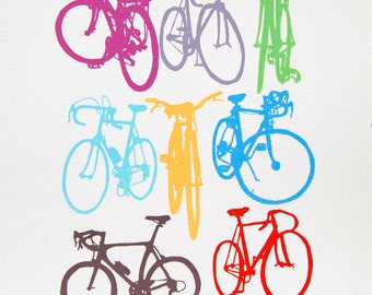 Bike Art - Bicycle Color Chart Screenprint - Urban Cycling Print