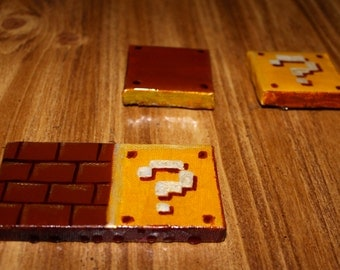 Mario Bros Magnet question blocks and bricks a tribute to Nintendo