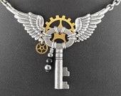 Steampunk Winged Angel Key Necklace - Tiny Guardian Angel of the Machina by COGnitive Creations