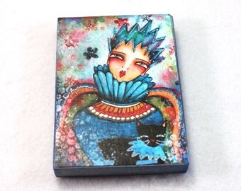 ACEO Wood Block, Girl and Black Cat Art Print, The Ice Queen ACEO ATC Artist Trading Card, Fridge Magnet, Storybook, Blue, Girl Friend Gift
