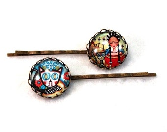 Mexican Day of the Dead Hairclips Bobby Pins Frida Cat Art Hair Clips Bobbypins Girl Woman Teen Gift Stocking Stuffer Bronze Blue Red Yellow