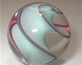 Huge Marble Spiral Swirl of Aqua and Purple Clear Hand Made Glass Ball