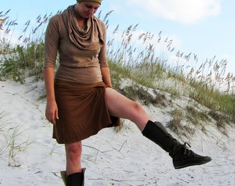 ORGANIC Faux Wrap Short Skirt ( light hemp and organic cotton knit ) - organic skirt :