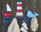 Kids Coat Rack NAUTICAL - Hand Painted Wood - Towel Rack Option