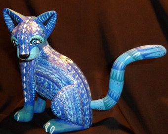 Blue Sitting Moon Cat Oaxacan Woodcarving Alebrije with fish by Zeny Fuentes