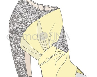 Miu Miu Glitter Heels Yellow Fashion Illustration Art Print