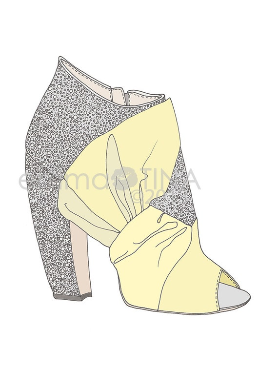 Miu Miu Glitter Heels Yellow Fashion Illustration Art Print